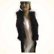 Black Feather Boa with Tassels - Original Edwardian