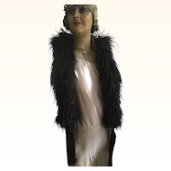 Original Edwardian Black Feather Boa with Tassels