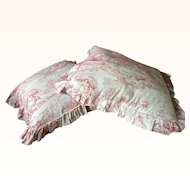 A Pair of Original French Toile Frilled Seat cushions circa 1900