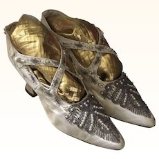 Edwardian Beaded Silk Wedding Shoes Circa 1910