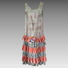 Original Late 1920's Silver Metallic Lace & Velvet Flapper Dress