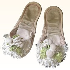 Pair of Vintage Satin Slippers for a child or doll