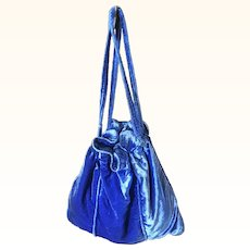 Original 1920s Blue Silk Velvet Bag