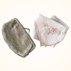 Lamé Purse & Handkerchief - 1920's