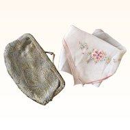 Little 1920's Lamé Purse & Handkerchief