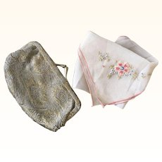 Little 1920's Lamé Purse & Handkerchief