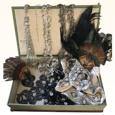 Ribbon Work & Moire Silk Box full of vintage Trims for projects (Reserved for P)