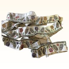 Two Lengths of Antique Silk and Beaded late 18th century trim