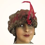 Gold Lamé Hat - Turban Style with Gold Metallic Lace - circa 1918