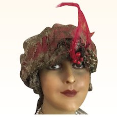 Gold Metallic Lace and Gold Lamé Turban Style Hat circa 1918