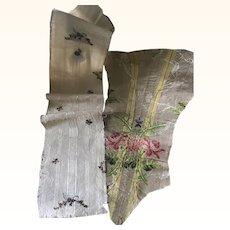 Two Fragments of 18th Century Spitalfields Silk Fabric