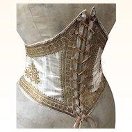 Rare Antique Cream Silk & Gold metallic Embroidered Waist Cincher/Corset