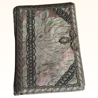 Victorian Silk Brocade and Metallic Trim Needle case/ Calling Card case