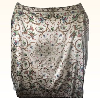Circa 1860's Silk Satin Fringed Crinoline Shawl
