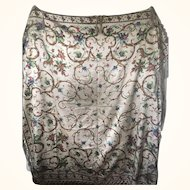 Crinoline Shawl - Silk Satin Fringed - Circa 1860's