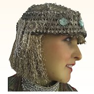 Original 1920's Silver Metallic Flapper Head dress with Rhinestones and Beads