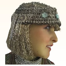 Original 1920's Silver Metallic Flapper Head dress with Rhinestones and Beads
