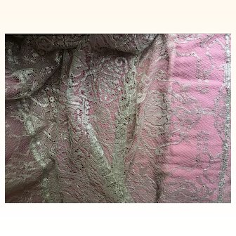 1920's Silver Metallic lace & Pink Chiffon Train