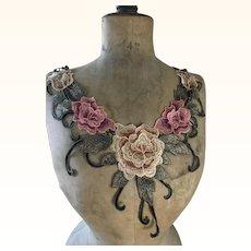 Floral 1920's Collar/Appliqué (Reserved for Jasmin)