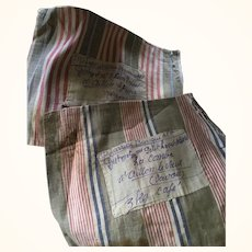 Antique French Ticking Coffee Bags with Handwritten Labels