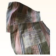 A Pair of Antique French Ticking Coffee Bags with Handwritten Labels
