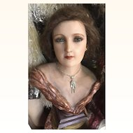 Original Rare Antique Edwardian Lady Wax Bust with real hair on stand circa 1900's RESERVED FOR TINA