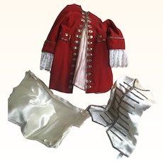Vintage Red Velvet, silk satin and silver metallic trimmed three piece Pageboy Outfit circa 1950's