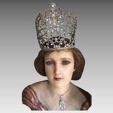 Large Original Rare 1920's Rhinestone Theatrical Crown