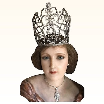 Large Original Rare 1920's Rhinestone Theatrical Crown