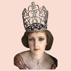 Rhinestone Theatrical Crown - Large Original & Rare 1920's