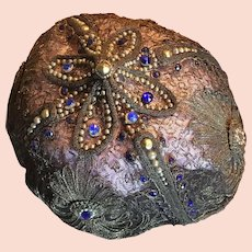 Gold Metallic Cap with Faux Stones and Pearls - Circa 1910/15