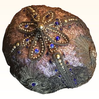 Original Teens Circa 1910/15 Ladies Gold Metallic Cap with Faux Stones and Pearls