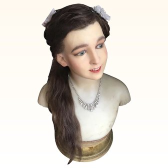 1920's Pierre Imans Wax Bust/Mannequin of a Child