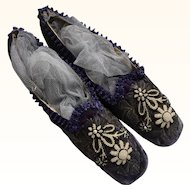 Circa 1860 Purple Silk Velvet Shoes, 'Straights' with Metallic Thread Embroidery & Pearl Bead work
