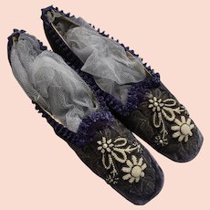 'Straights' Ladies Shoes in Purple Silk Velvet with Metallic Thread Embroidery & Pearl Bead work - Circa 1860
