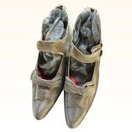 Antique Pale Blue Silk Edwardian Ladies Shoes circa 1910 with Paris label
