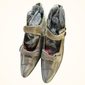 Edwardian Ladies Shoes in Blue Silk with Paris label- circa 1910