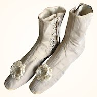 Ladies Wedding Boots in Silk Satin with Silk Rosettes