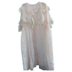 Original Antique Edwardian Ladies Embroidered & Lace Peignoir