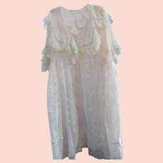 Original Antique Edwardian Ladies Embroidered & Lace Peignoir