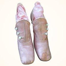 Antique Pink Leather Edwardian Ladies Shoes