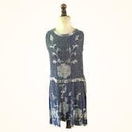Midnight Blue heavily Beaded Chiffon ladies vintage 1920's Flapper dress