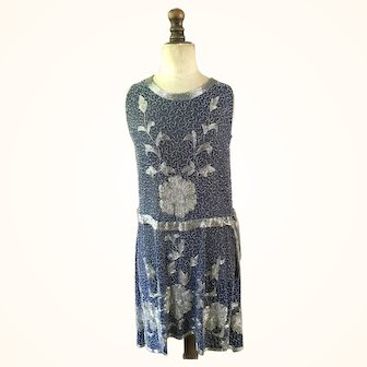 Midnight Blue heavily Beaded Chiffon ladies vintage 1920's Flapper dress