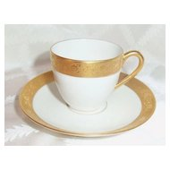 Pickard Gold Etched White Cup & Saucer Mark 10 1912-1922