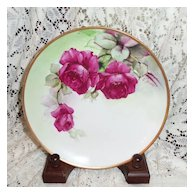 "Richard Ginori Italy Hand Painted Ruby Roses  7.75"" Plate Signed G. Barig"