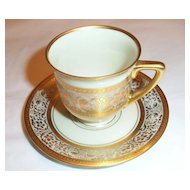 Pickard Decorated Gold Encrusted Design Heinrich Demitasse Cup Two Saucers