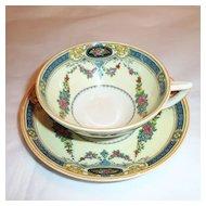 Myott Staffordshire England Cup and Saucer Floral Enamel Garland Blue Border