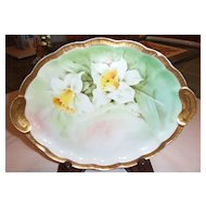 """Antique Ginori 10.5 """" Hidden Handles Tray with Hand Painted Daffodils signed R Ciomi"""