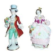 Frankenthal German  Dresden Art Lace Hand Painted Figurines Gentleman & Lady Friedrich Wilhelm Wessel