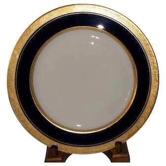 Limoges France Cobalt Blue with Gold Encrusted Rim 10 5/8 inch Porcelain Plate